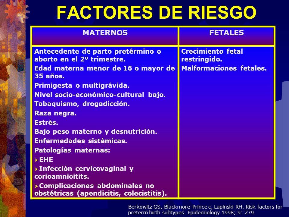 FACTORES MATERNOS : Mayor incidencia en multigestas, madres solteras y con escolaridad elemental.