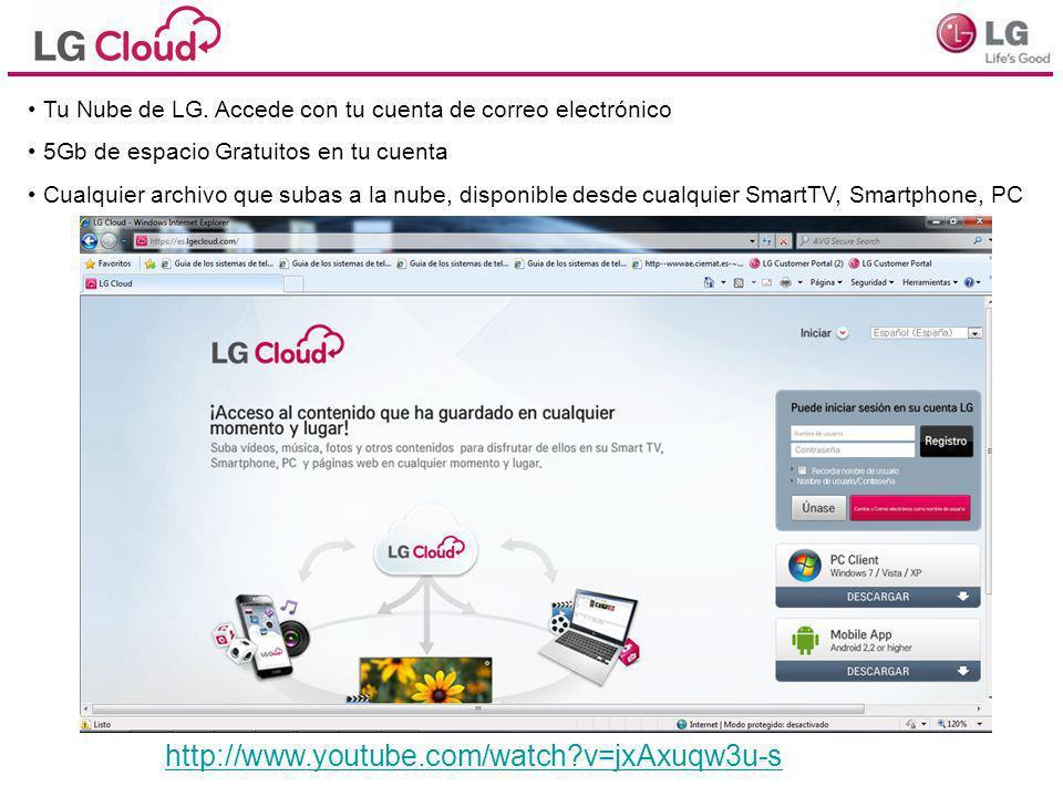 Tu Nube de LG. Accede con tu cuenta de correo electrónico 5Gb de espacio Gratuitos en tu cuenta Cualquier archivo que subas a la nube, disponible desd