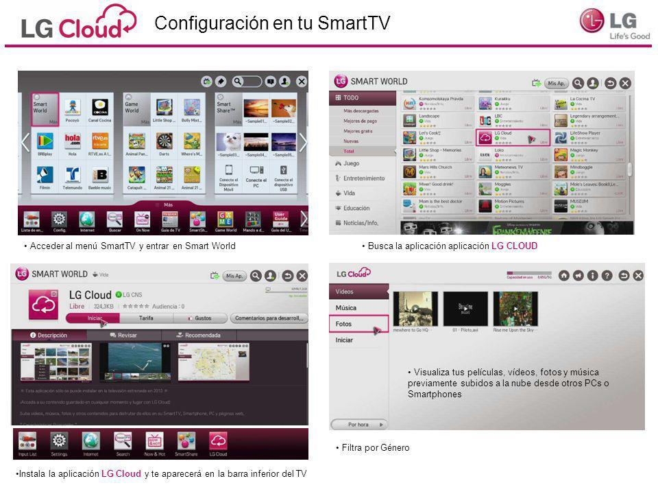 Configuración en tu SmartTV Acceder al menú SmartTV y entrar en Smart World Busca la aplicación aplicación LG CLOUD Instala la aplicación LG Cloud y t