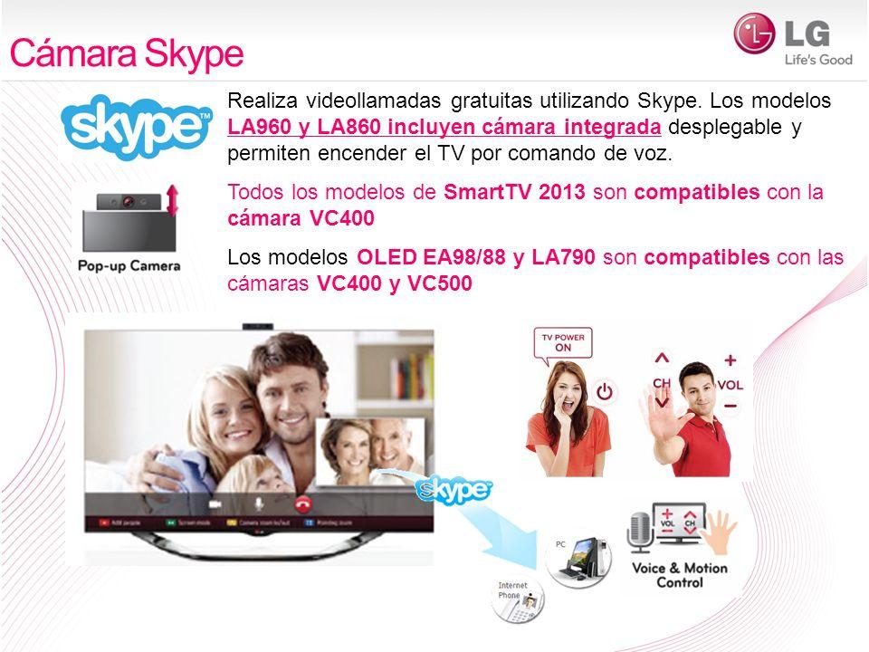 Realiza videollamadas gratuitas utilizando Skype. Los modelos LA960 y LA860 incluyen cámara integrada desplegable y permiten encender el TV por comand