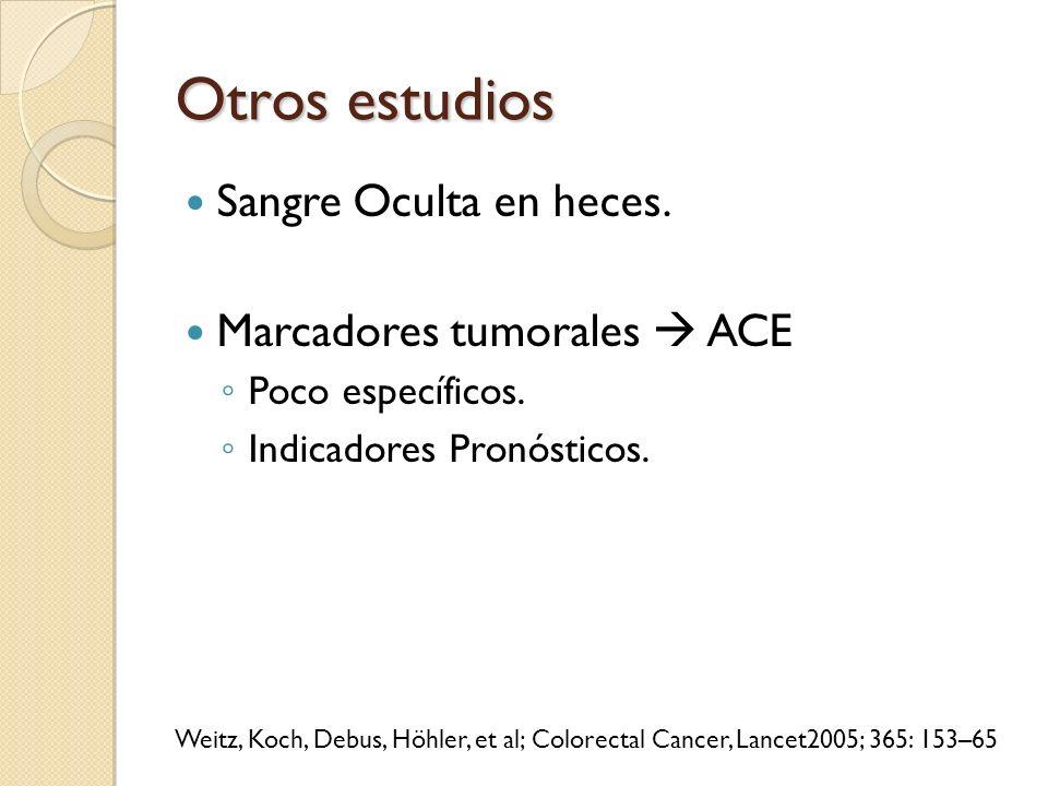 Otros estudios Sangre Oculta en heces. Marcadores tumorales ACE Poco específicos. Indicadores Pronósticos. Weitz, Koch, Debus, Höhler, et al; Colorect
