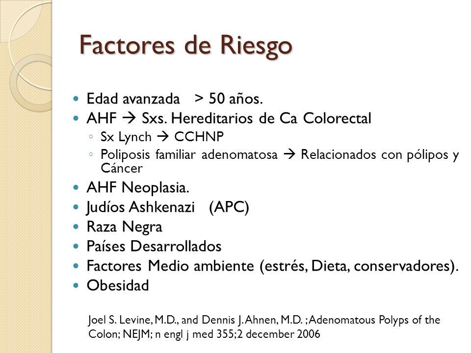 Factores de Riesgo Edad avanzada > 50 años. AHF Sxs. Hereditarios de Ca Colorectal Sx Lynch CCHNP Poliposis familiar adenomatosa Relacionados con póli