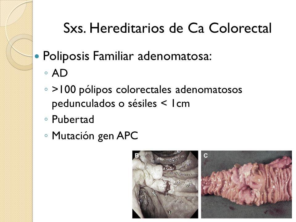 Sxs. Hereditarios de Ca Colorectal Poliposis Familiar adenomatosa: AD >100 pólipos colorectales adenomatosos pedunculados o sésiles < 1cm Pubertad Mut