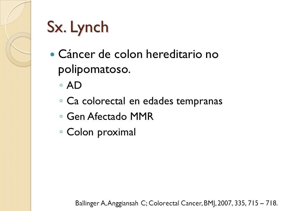 Sx. Lynch Cáncer de colon hereditario no polipomatoso. AD Ca colorectal en edades tempranas Gen Afectado MMR Colon proximal Ballinger A, Anggiansah C;