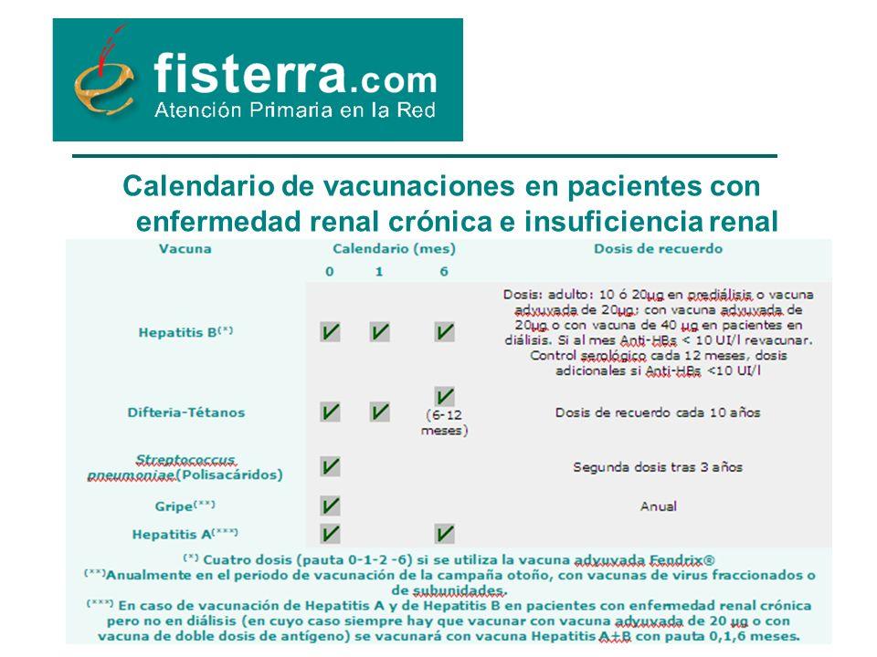 Calendario de vacunaciones en pacientes con enfermedad renal crónica e insuficiencia renal