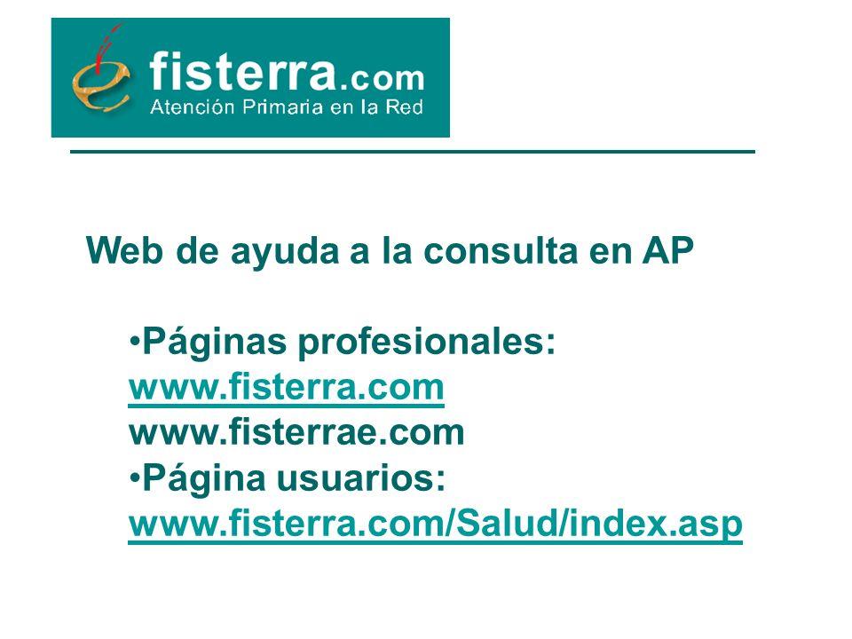 Web de ayuda a la consulta en AP Páginas profesionales: www.fisterra.com www.fisterra.com www.fisterrae.com Página usuarios: www.fisterra.com/Salud/index.asp