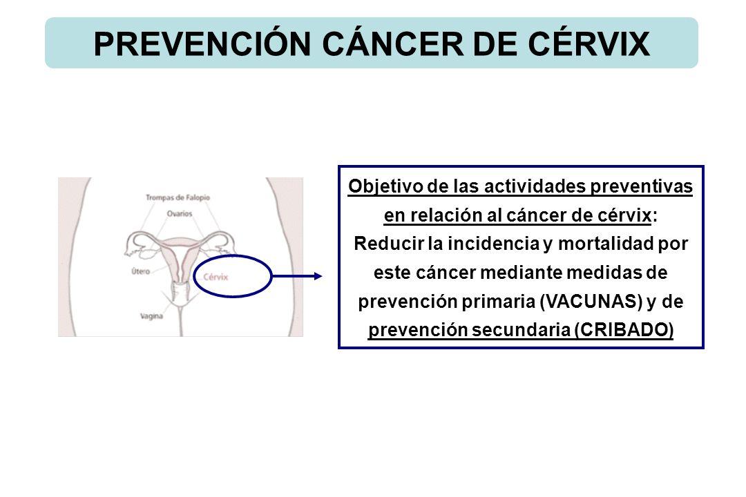 PREVENCIÓN CÁNCER DE CÉRVIX Objetivo de las actividades preventivas en relación al cáncer de cérvix: Reducir la incidencia y mortalidad por este cánce