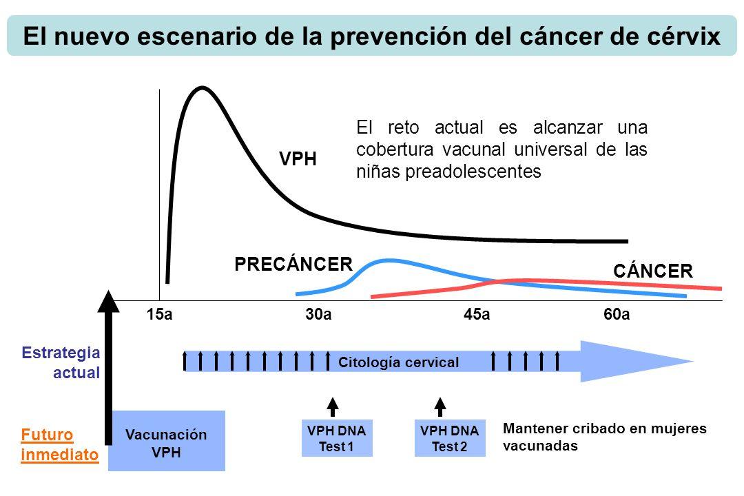 15a30a45a VPH PRECÁNCER CÁNCER Citología cervical Estrategia actual 60a Futuro inmediato Vacunación VPH VPH DNA Test 1 VPH DNA Test 2 Mantener cribado