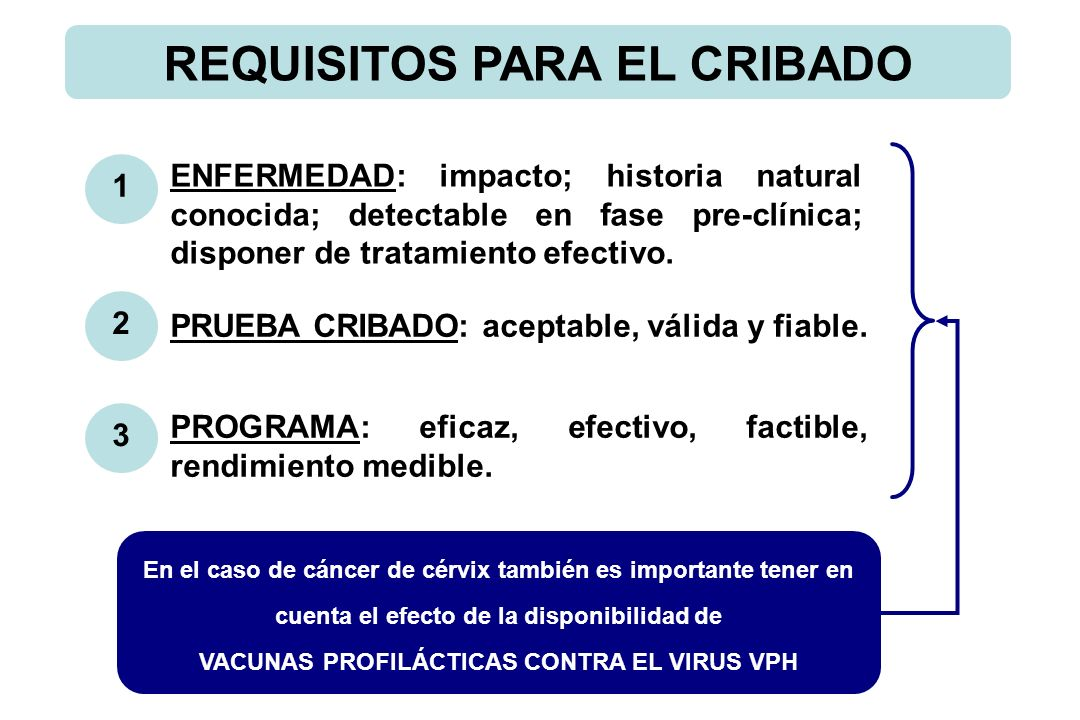 REQUISITOS PARA EL CRIBADO 1 2 3 ENFERMEDAD: impacto; historia natural conocida; detectable en fase pre-clínica; disponer de tratamiento efectivo.