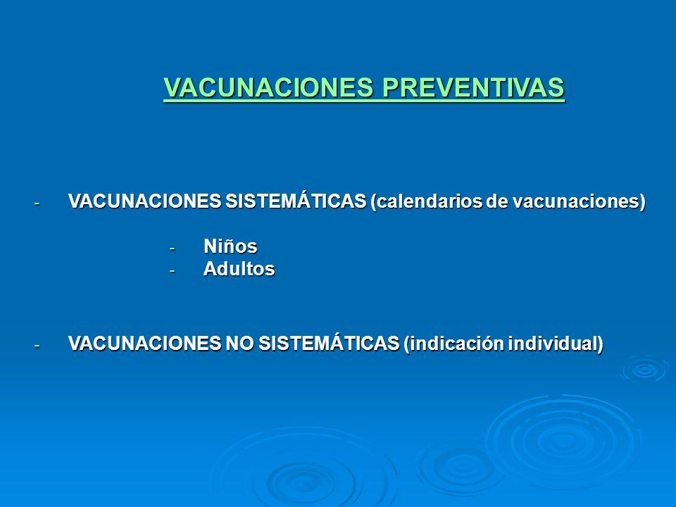 VACUNACIONES PREVENTIVAS - VACUNACIONES SISTEMÁTICAS (calendarios de vacunaciones) - Niños - Adultos - VACUNACIONES NO SISTEMÁTICAS (indicación indivi