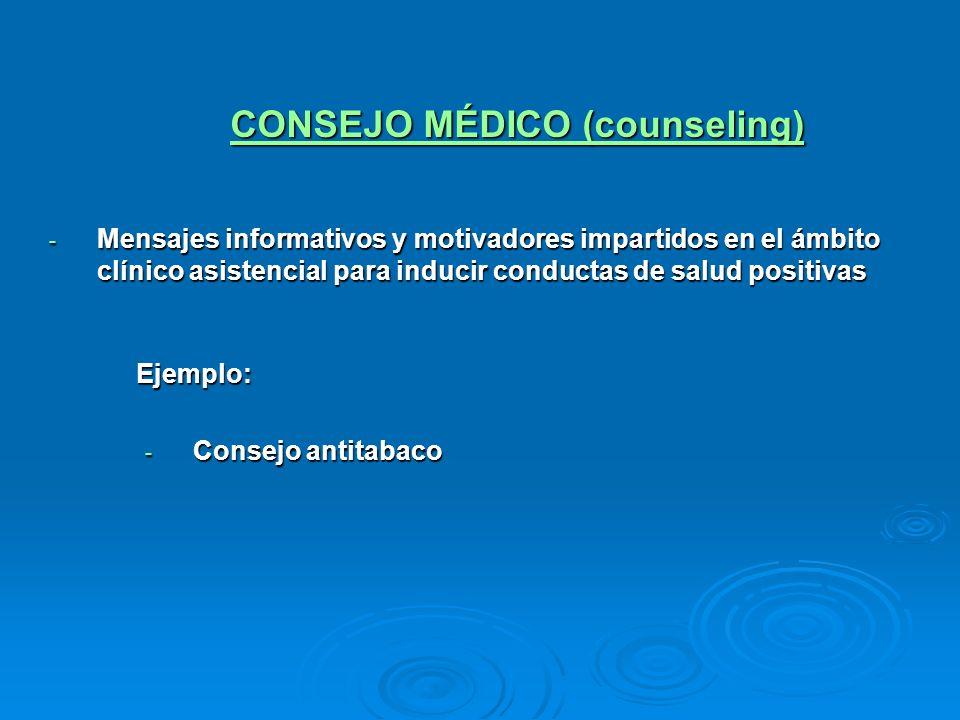 CONSEJO MÉDICO (counseling) - Mensajes informativos y motivadores impartidos en el ámbito clínico asistencial para inducir conductas de salud positiva
