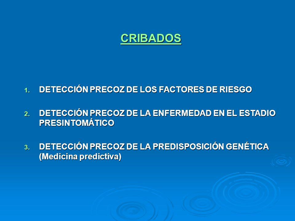 CRIBADOS 1. DETECCIÓN PRECOZ DE LOS FACTORES DE RIESGO 2. DETECCIÓN PRECOZ DE LA ENFERMEDAD EN EL ESTADIO PRESINTOMÁTICO 3. DETECCIÓN PRECOZ DE LA PRE