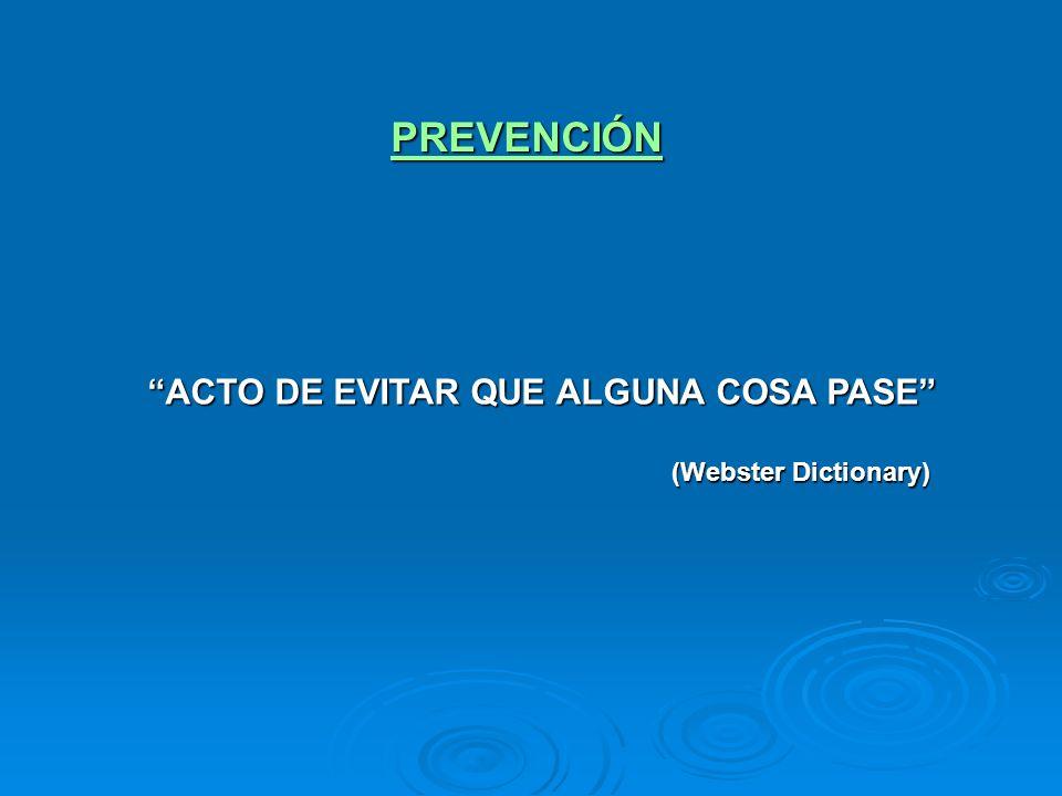 QUIMIOPREVENCIÓN - Administración de fármacos a personas asintomáticas como prevención primaria de una enfermedad crónica Ejemplo: - Aspirina para la prevención de las enfermedades cardiovasculares en adultos de alto riesgo (USPSTF 2002)