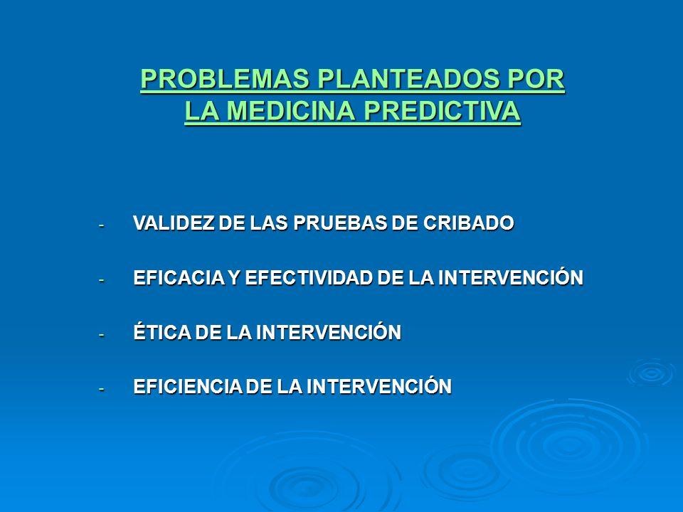 PROBLEMAS PLANTEADOS POR LA MEDICINA PREDICTIVA - VALIDEZ DE LAS PRUEBAS DE CRIBADO - EFICACIA Y EFECTIVIDAD DE LA INTERVENCIÓN - ÉTICA DE LA INTERVEN