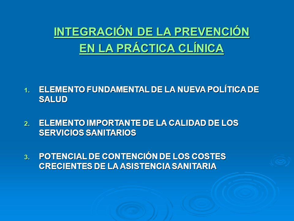 INTEGRACIÓN DE LA PREVENCIÓN EN LA PRÁCTICA CLÍNICA 1. ELEMENTO FUNDAMENTAL DE LA NUEVA POLÍTICA DE SALUD 2. ELEMENTO IMPORTANTE DE LA CALIDAD DE LOS