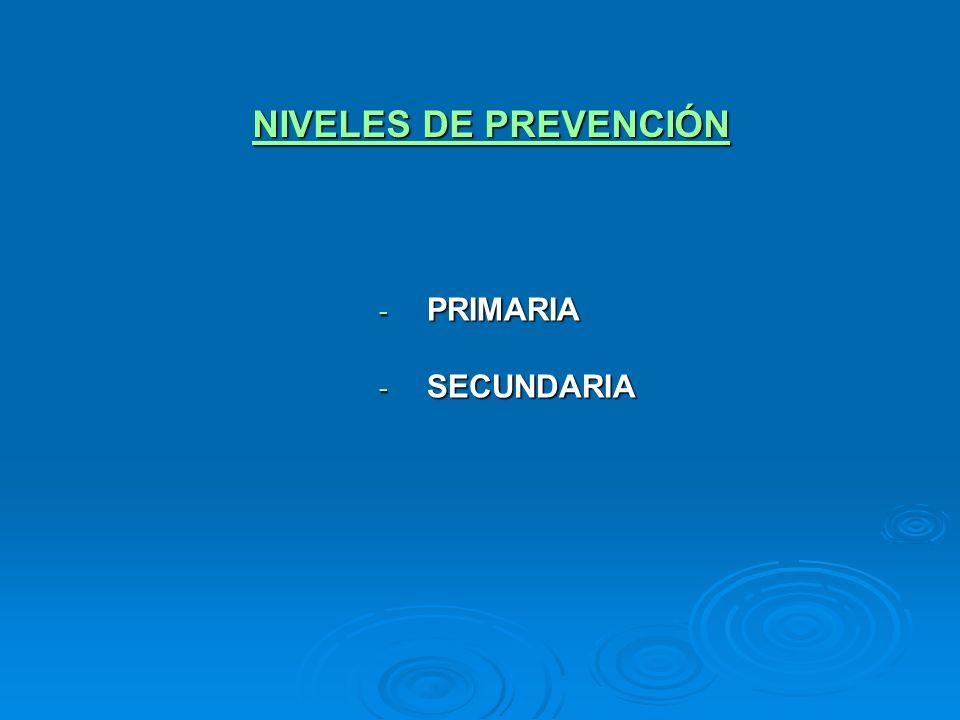 NIVELES DE PREVENCIÓN - PRIMARIA - SECUNDARIA
