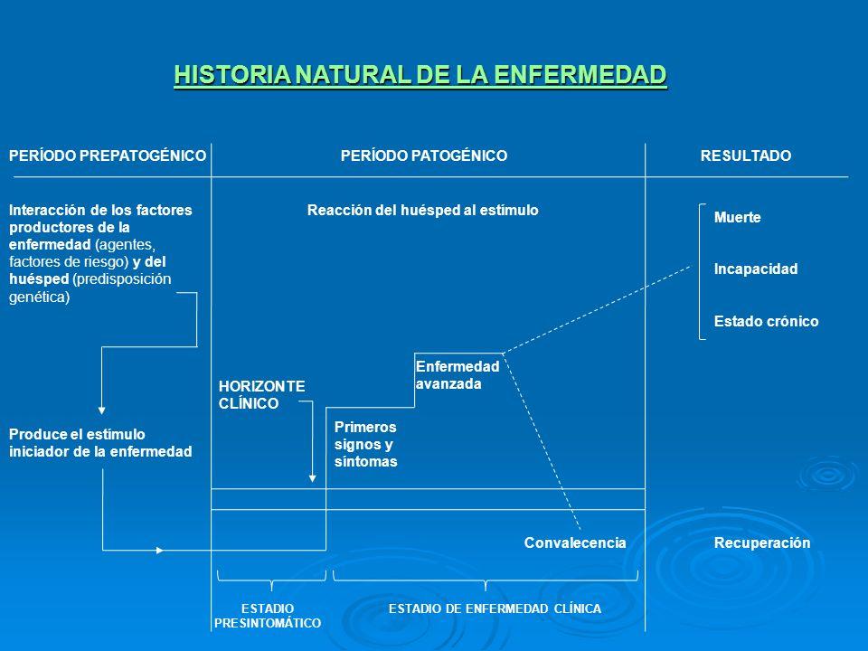 NIVELES DE PREVENCIÓN HISTORIA NATURAL DE LA ENFERMEDAD Interacción entre los factores productores de enfermedades (agente/s, factores de riesgo) y el huésped Reacción del estímulo Reacción del estímulo Producción del estímulo Estadio presintomático Primeros signos y síntomas Enfermedad avanzada Convalecencia PERÍODO PREPATOGÉNICO PERÍODO PATOGÉNICO PROTECCIÓN DE LA SALUD PROMOCIÓN DE LA SALUD Y PREVENCIÓN DE LA ENFERMEDAD Saneamiento Ambiental Higiene alimentaria Inmunizaciones preventivas QuimioprofilaxisQuimioprevención Educación sanitaria Cribados PREVENCIÓN PRIMARIA PREVENCIÓN SECUNDARIA NIVELES DE PREVENCIÓN
