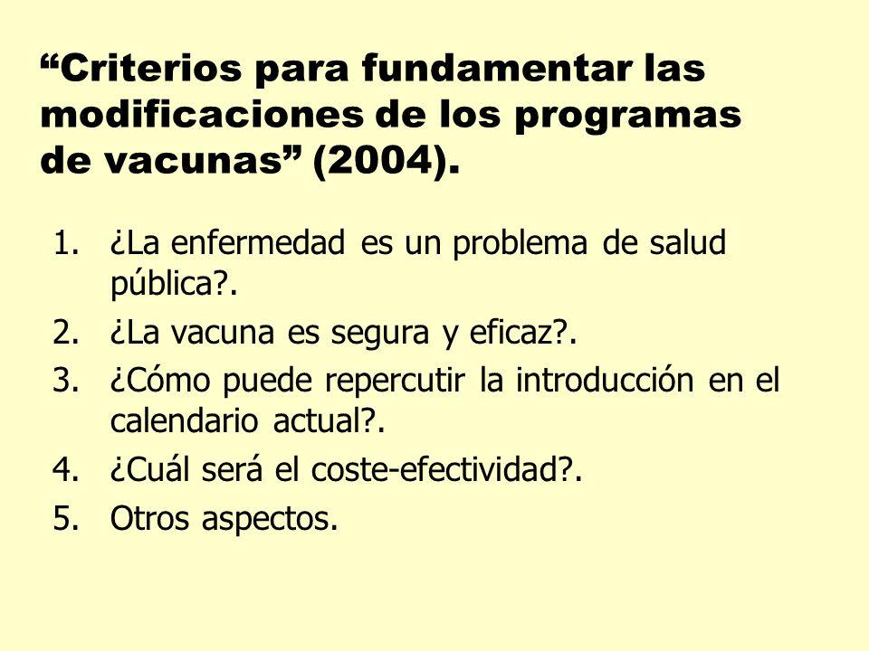 Criterios para fundamentar las modificaciones de los programas de vacunas (2004). 1.¿La enfermedad es un problema de salud pública?. 2.¿La vacuna es s