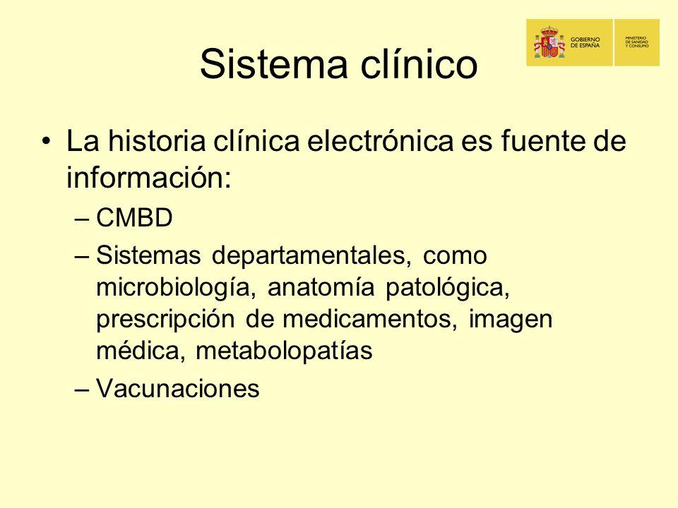 Sistema clínico La historia clínica electrónica es fuente de información: –CMBD –Sistemas departamentales, como microbiología, anatomía patológica, pr