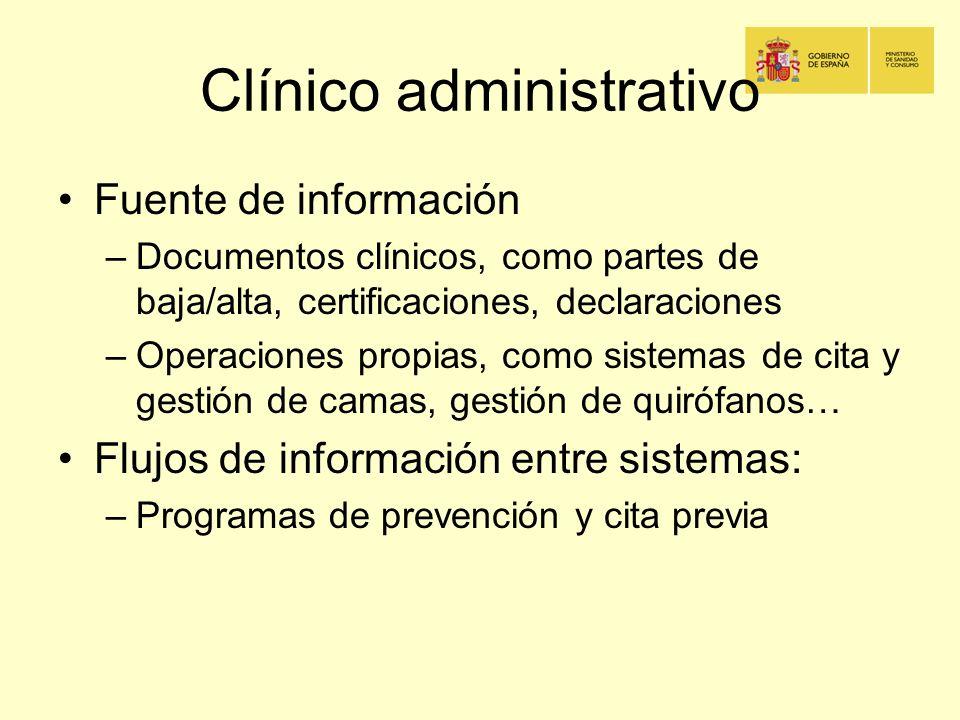 Clínico administrativo Fuente de información –Documentos clínicos, como partes de baja/alta, certificaciones, declaraciones –Operaciones propias, como