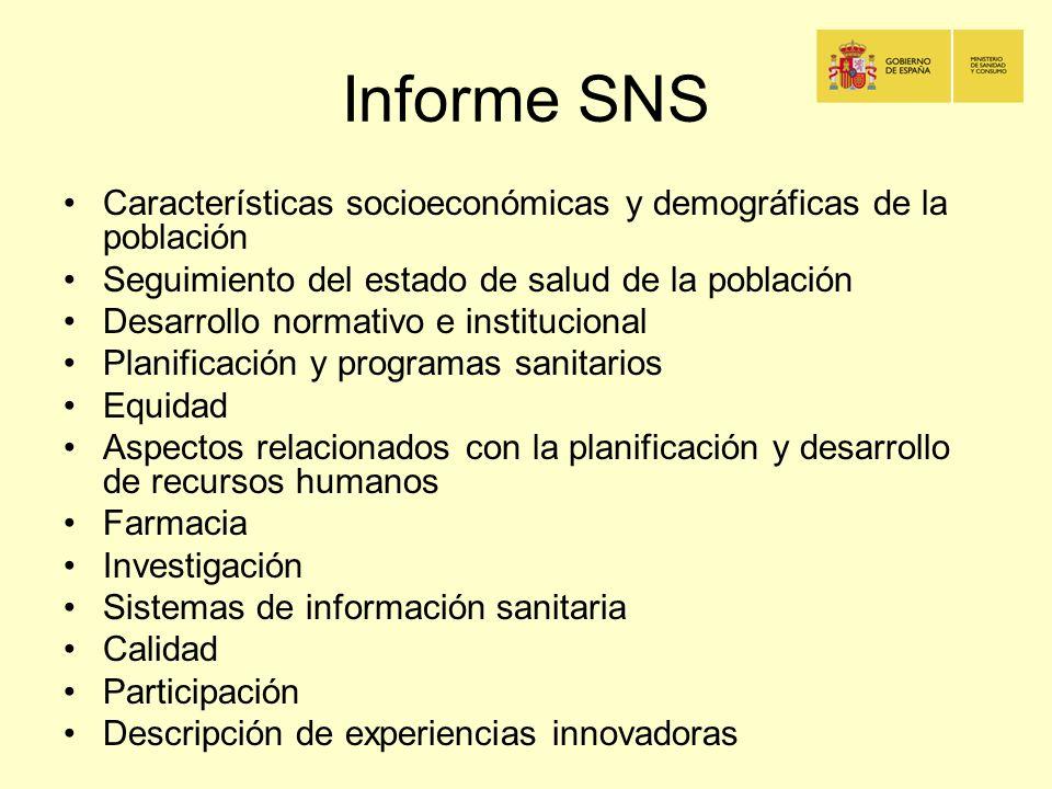 Informe SNS Características socioeconómicas y demográficas de la población Seguimiento del estado de salud de la población Desarrollo normativo e inst
