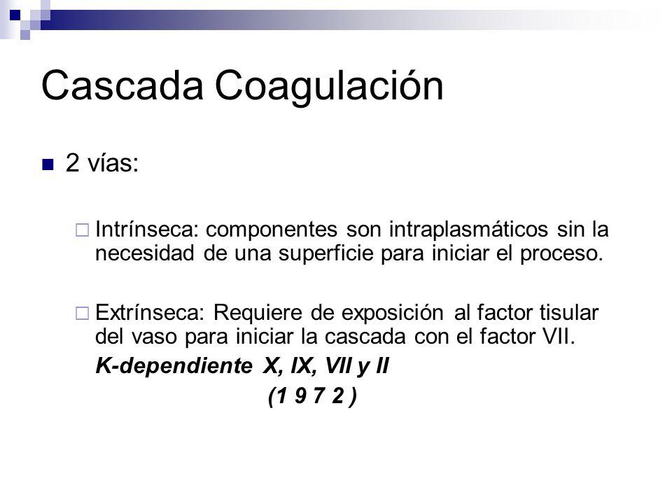 Cascada Coagulación 2 vías: Intrínseca: componentes son intraplasmáticos sin la necesidad de una superficie para iniciar el proceso. Extrínseca: Requi