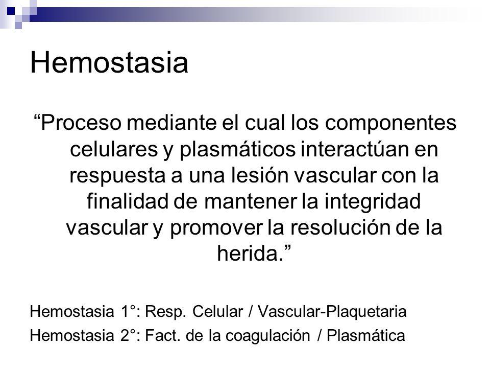 Hemostasia Proceso mediante el cual los componentes celulares y plasmáticos interactúan en respuesta a una lesión vascular con la finalidad de mantene
