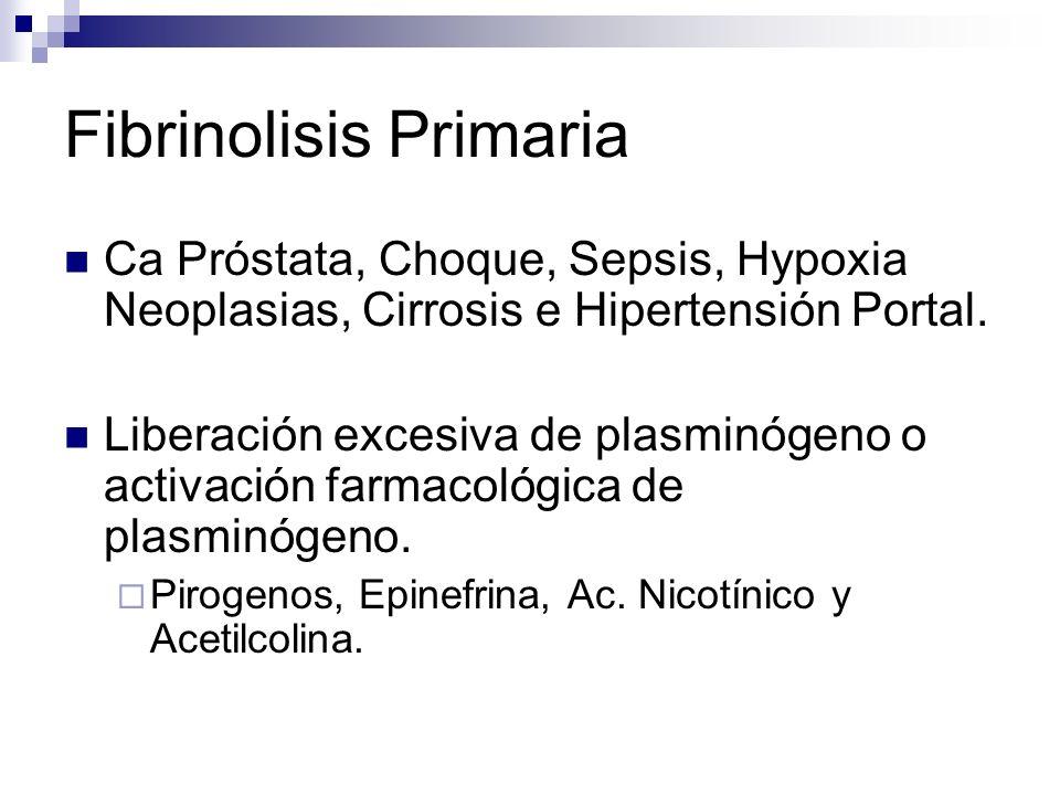 Fibrinolisis Primaria Ca Próstata, Choque, Sepsis, Hypoxia Neoplasias, Cirrosis e Hipertensión Portal. Liberación excesiva de plasminógeno o activació