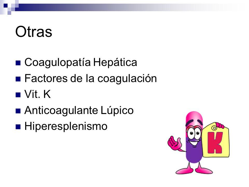 Otras Coagulopatía Hepática Factores de la coagulación Vit. K Anticoagulante Lúpico Hiperesplenismo