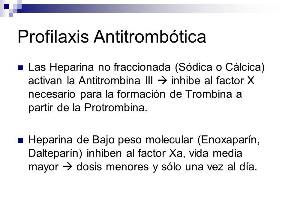 Profilaxis Antitrombótica Las Heparina no fraccionada (Sódica o Cálcica) activan la Antitrombina III inhibe al factor X necesario para la formación de