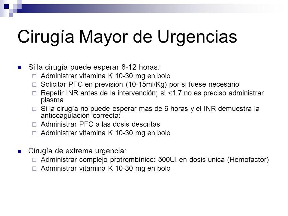 Cirugía Mayor de Urgencias Si la cirugía puede esperar 8-12 horas: Administrar vitamina K 10-30 mg en bolo Solicitar PFC en previsión (10-15ml/Kg) por