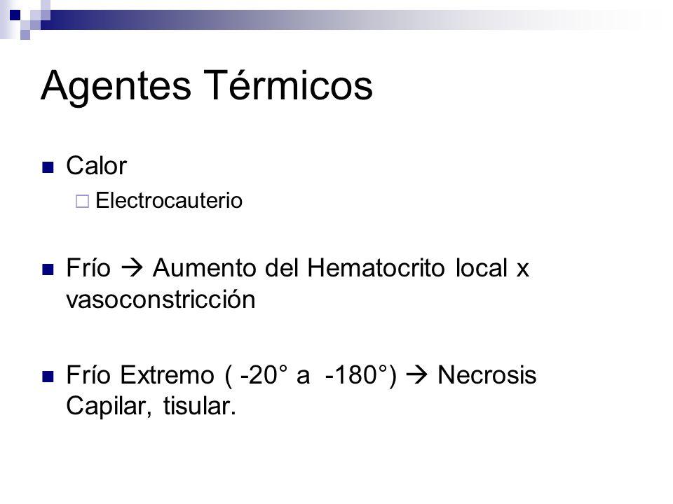 Agentes Térmicos Calor Electrocauterio Frío Aumento del Hematocrito local x vasoconstricción Frío Extremo ( -20° a -180°) Necrosis Capilar, tisular.