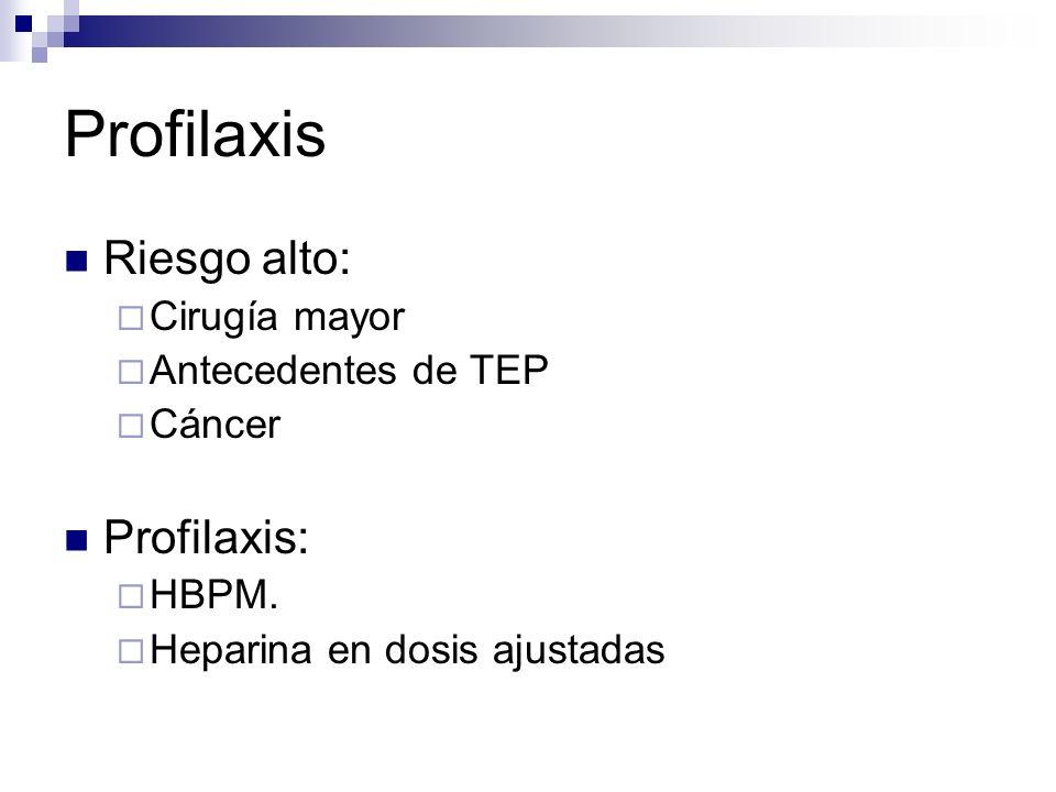 Profilaxis Riesgo alto: Cirugía mayor Antecedentes de TEP Cáncer Profilaxis: HBPM. Heparina en dosis ajustadas