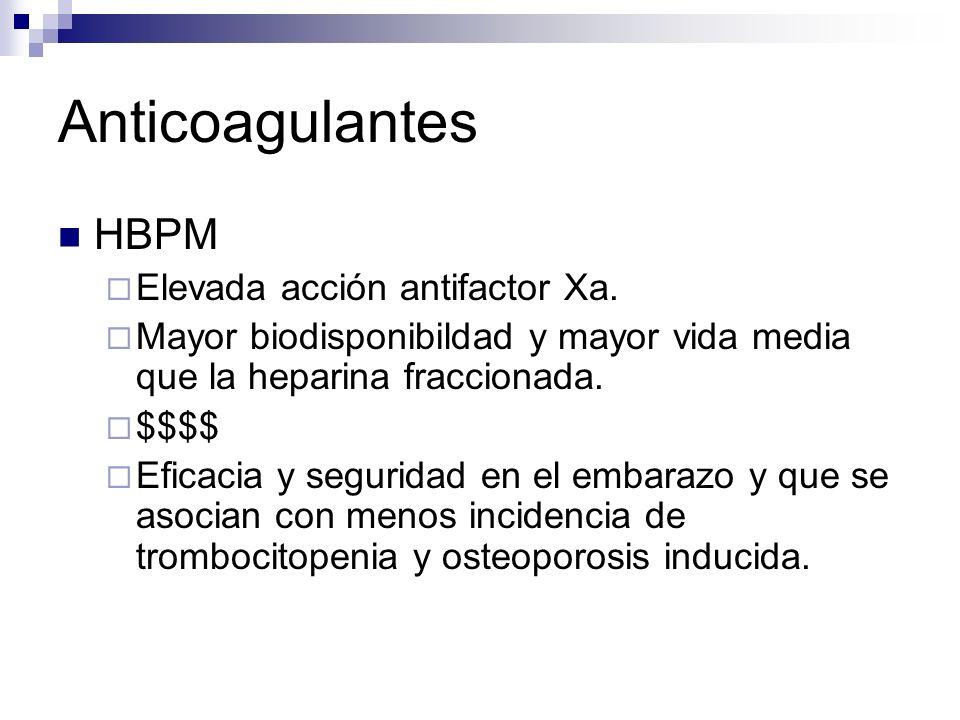 Anticoagulantes HBPM Elevada acción antifactor Xa. Mayor biodisponibildad y mayor vida media que la heparina fraccionada. $$$$ Eficacia y seguridad en