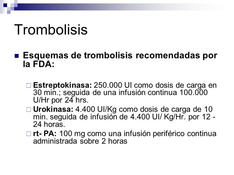 Trombolisis Esquemas de trombolisis recomendadas por la FDA: Estreptokinasa: 250.000 UI como dosis de carga en 30 min.; seguida de una infusión contin