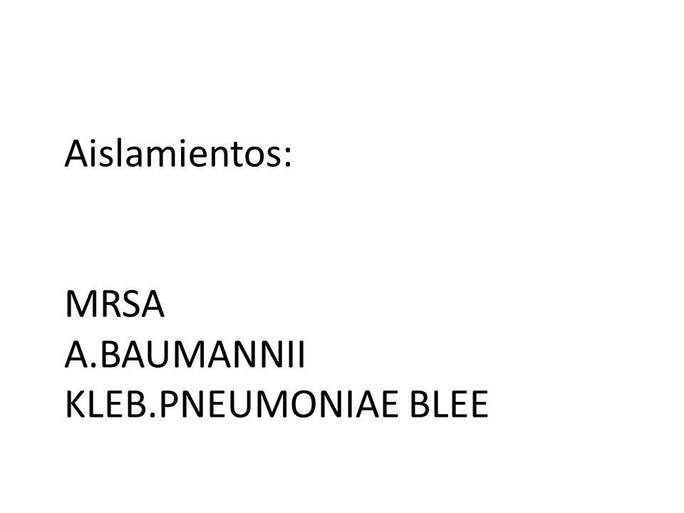Aislamientos: MRSA A.BAUMANNII KLEB.PNEUMONIAE BLEE
