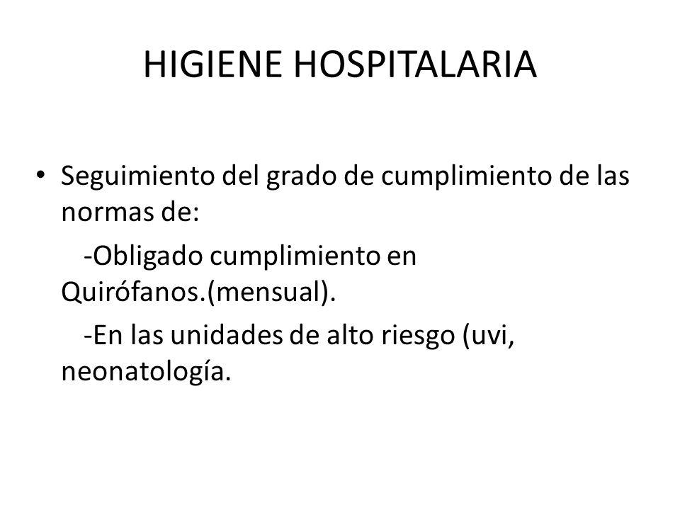 HIGIENE HOSPITALARIA Seguimiento del grado de cumplimiento de las normas de: -Obligado cumplimiento en Quirófanos.(mensual). -En las unidades de alto