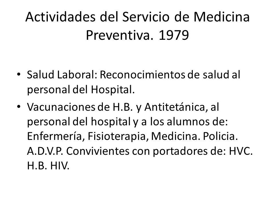 Actividades del Servicio de Medicina Preventiva. 1979 Salud Laboral: Reconocimientos de salud al personal del Hospital. Vacunaciones de H.B. y Antitet
