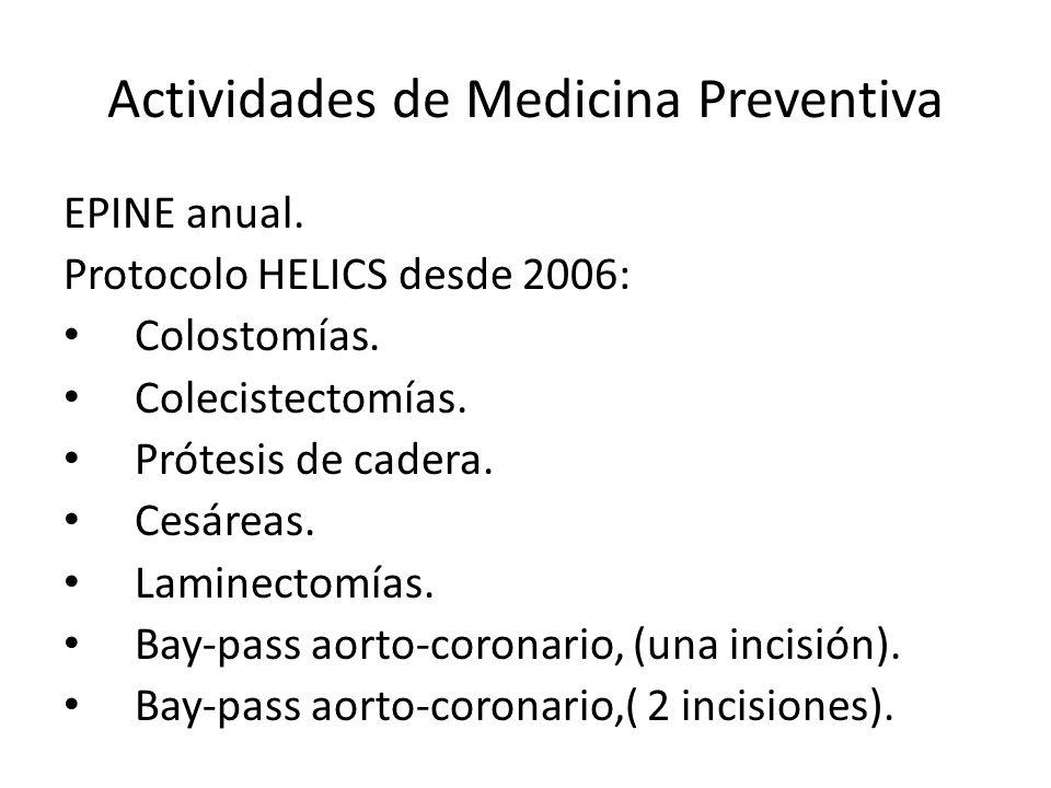 Actividades de Medicina Preventiva EPINE anual. Protocolo HELICS desde 2006: Colostomías. Colecistectomías. Prótesis de cadera. Cesáreas. Laminectomía