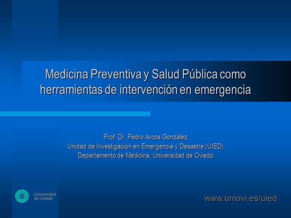 Medicina Preventiva y Salud Pública como herramientas de intervención en emergencia Prof.