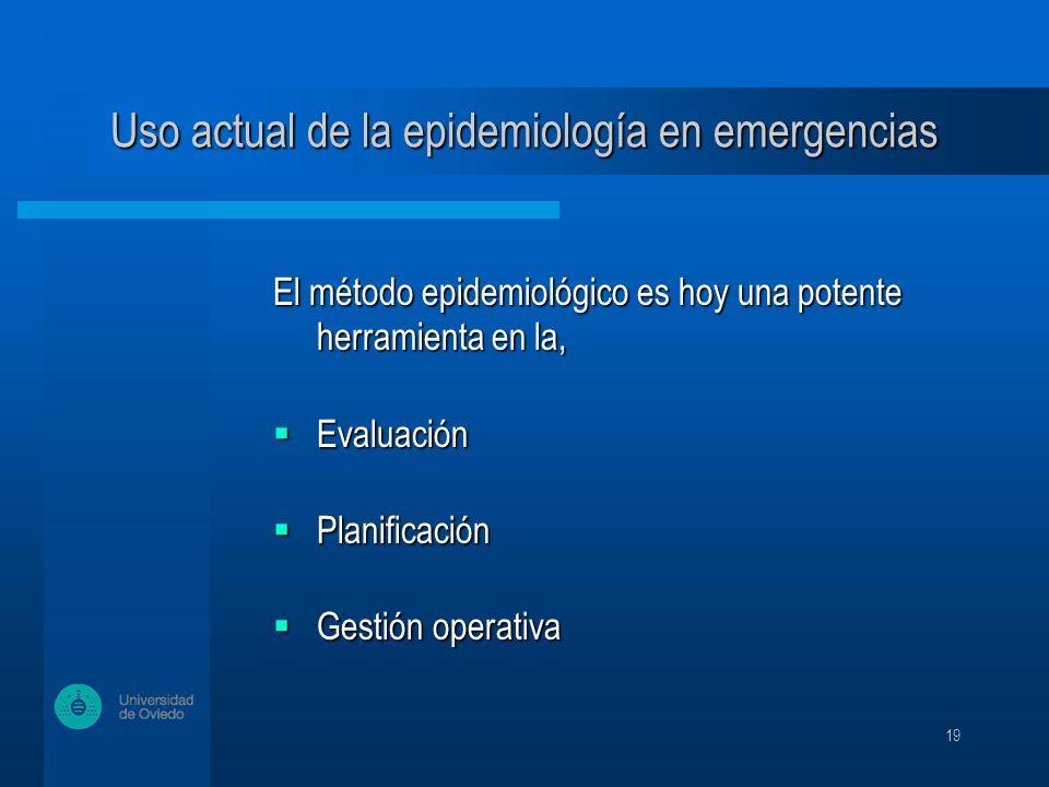19 El método epidemiológico es hoy una potente herramienta en la, Evaluación Evaluación Planificación Planificación Gestión operativa Gestión operativa El método epidemiológico es hoy una potente herramienta en la, Evaluación Evaluación Planificación Planificación Gestión operativa Gestión operativa Uso actual de la epidemiología en emergencias