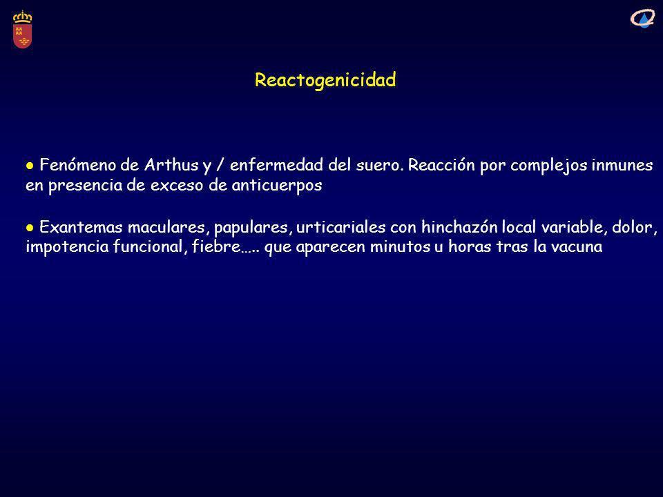 Reactogenicidad Fenómeno de Arthus y / enfermedad del suero. Reacción por complejos inmunes en presencia de exceso de anticuerpos Exantemas maculares,