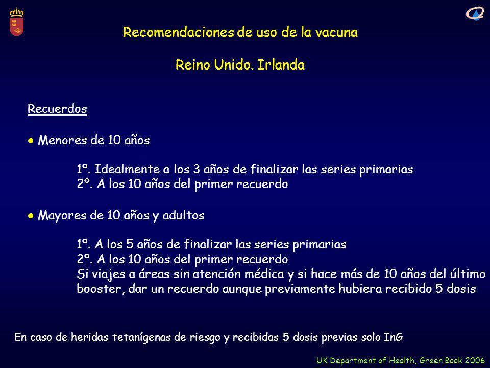 Recomendaciones de uso de la vacuna Reino Unido. Irlanda UK Department of Health, Green Book 2006 Recuerdos Menores de 10 años 1º. Idealmente a los 3