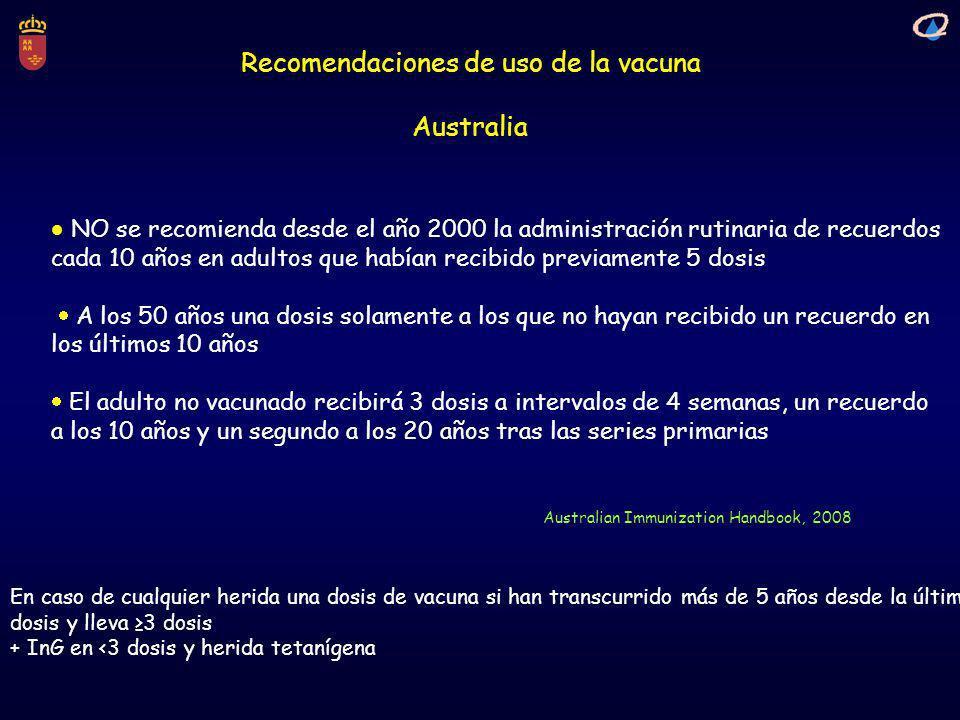Recomendaciones de uso de la vacuna Australia Australian Immunization Handbook, 2008 NO se recomienda desde el año 2000 la administración rutinaria de