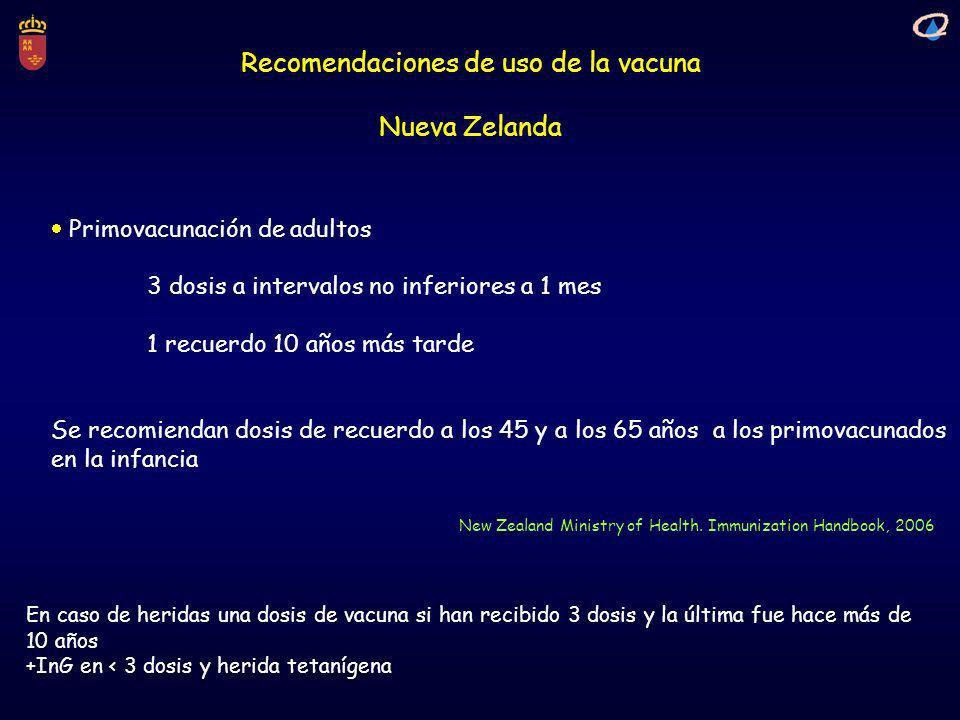 Recomendaciones de uso de la vacuna Nueva Zelanda New Zealand Ministry of Health. Immunization Handbook, 2006 Primovacunación de adultos 3 dosis a int