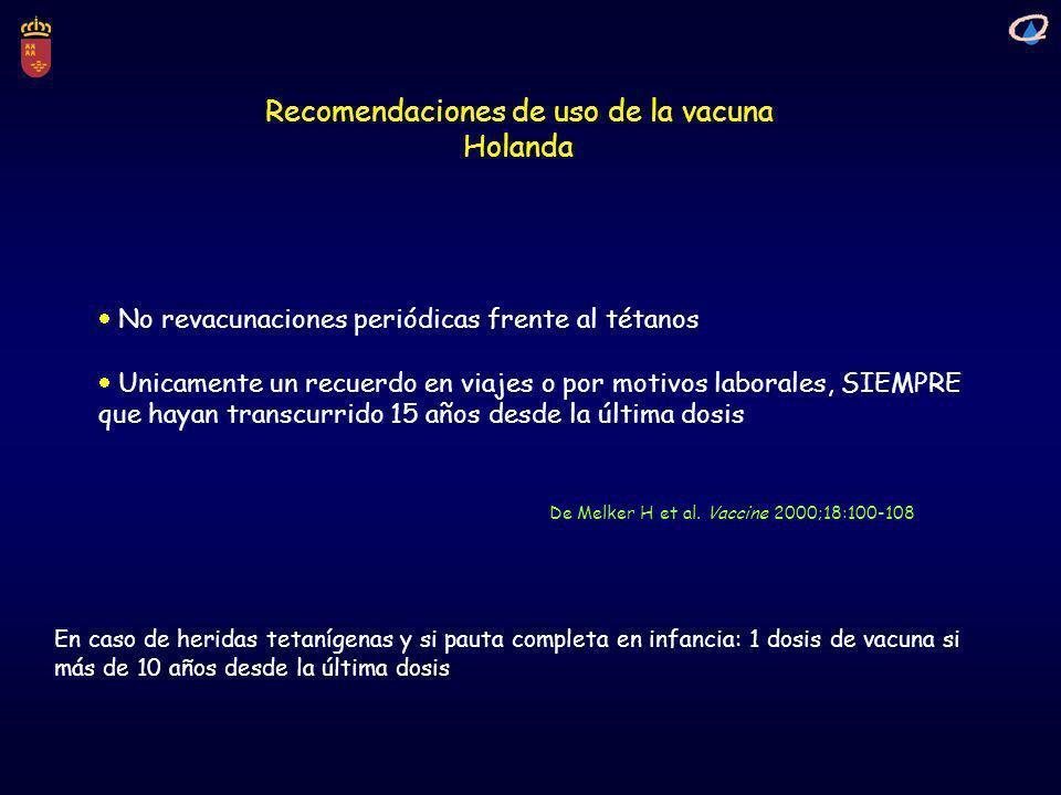 Recomendaciones de uso de la vacuna Holanda De Melker H et al. Vaccine 2000;18:100-108 No revacunaciones periódicas frente al tétanos Unicamente un re