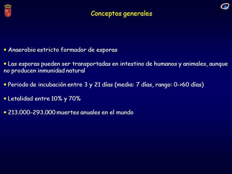 Conceptos generales Anaerobio estricto formador de esporas Las esporas pueden ser transportadas en intestino de humanos y animales, aunque no producen