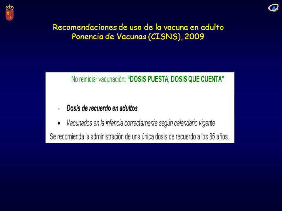 Recomendaciones de uso de la vacuna en adulto Ponencia de Vacunas (CISNS), 2009