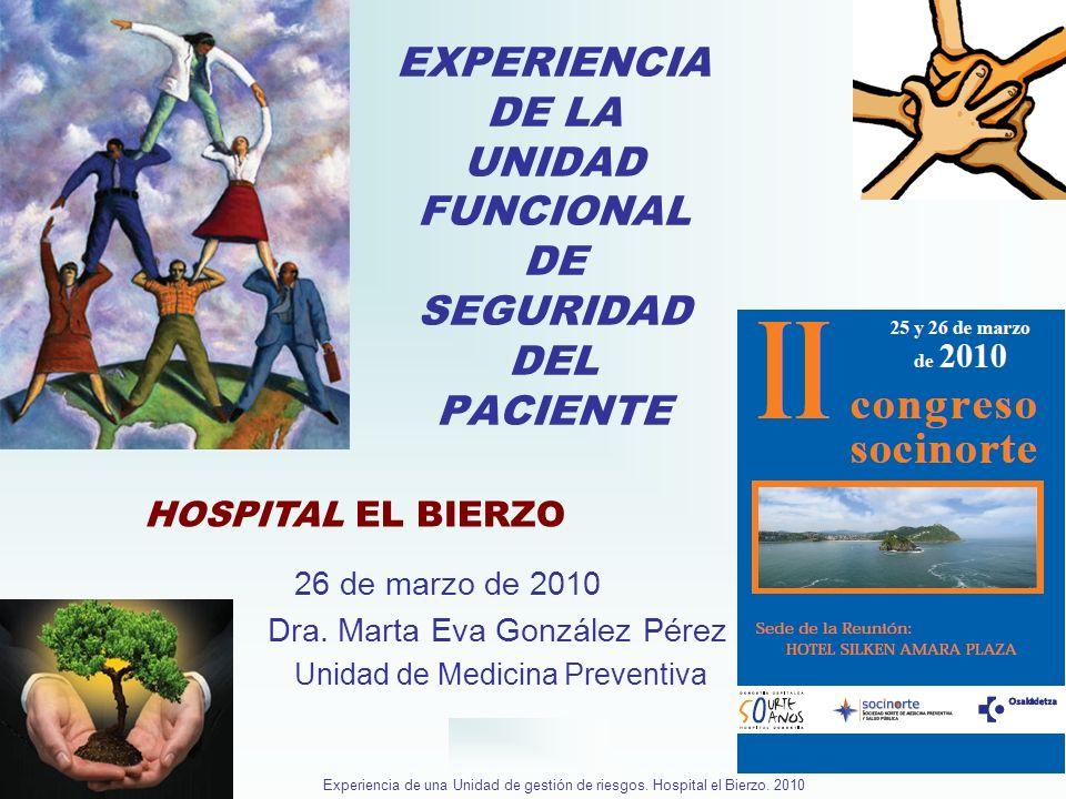 Hospital El Bierzo Experiencia de una Unidad de gestión de riesgos. Hospital el Bierzo. 2010 EXPERIENCIA DE LA UNIDAD FUNCIONAL DE SEGURIDAD DEL PACIE