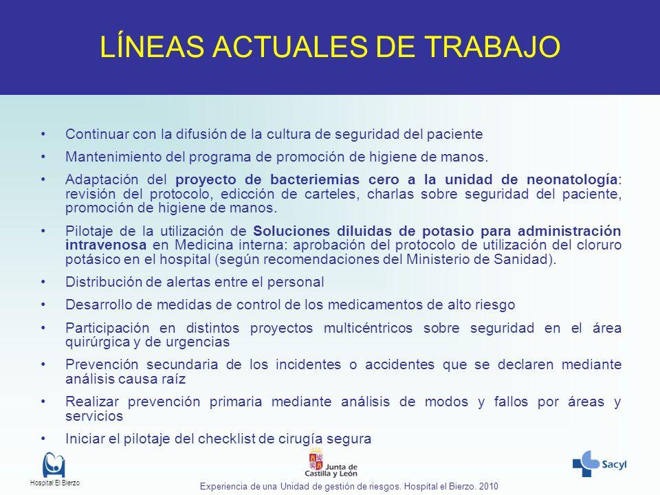 Hospital El Bierzo Experiencia de una Unidad de gestión de riesgos. Hospital el Bierzo. 2010 Continuar con la difusión de la cultura de seguridad del